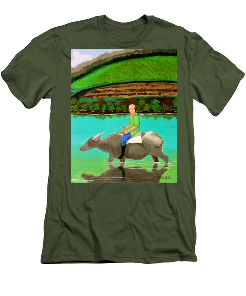 Man Riding A Carabao Men's T-Shirt (Slim Fit) by Cyril Maza