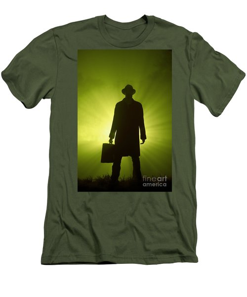 Men's T-Shirt (Slim Fit) featuring the photograph Man With Case In Green Light by Lee Avison