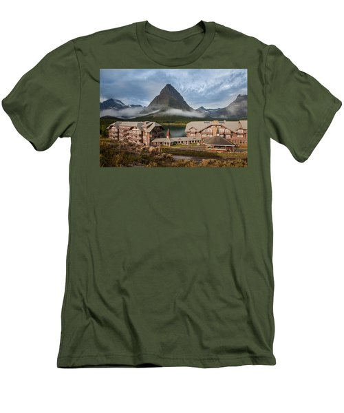 Many Glacier Hotel Men's T-Shirt (Slim Fit) by Jack Bell