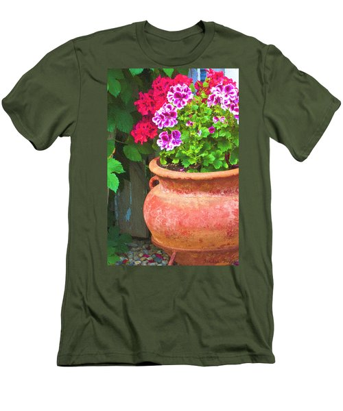 Men's T-Shirt (Slim Fit) featuring the photograph Martha Washington Geraniums In Textured Clay Pot by Sandra Foster