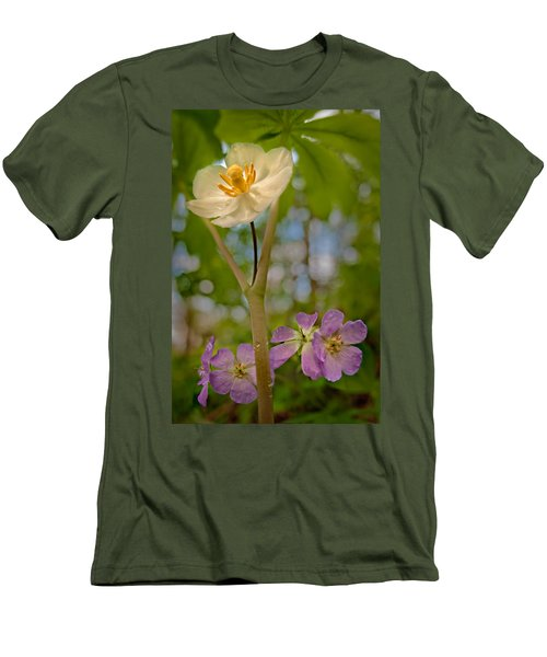 May Apples And Wild Geraniums Men's T-Shirt (Athletic Fit)