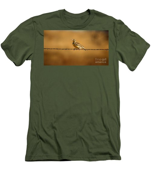 Meadowlark And Barbed Wire Men's T-Shirt (Slim Fit) by Robert Frederick