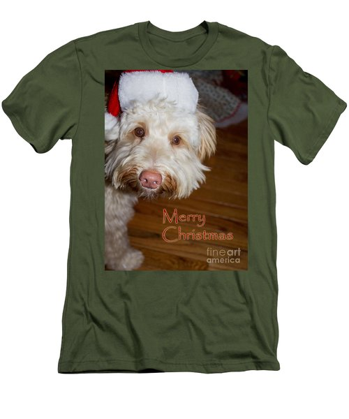 Merry Christmas From A Labrdoodle Card Men's T-Shirt (Athletic Fit)