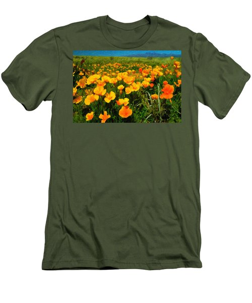 Men's T-Shirt (Slim Fit) featuring the digital art Mexican Poppies by Chuck Mountain