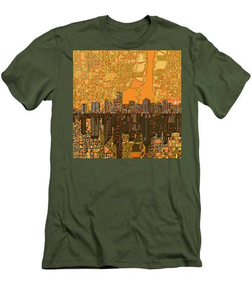 Miami Skyline Abstract 5 Men's T-Shirt (Athletic Fit)