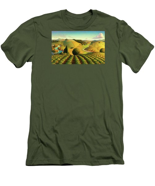 Men's T-Shirt (Slim Fit) featuring the painting Midwest Vineyard by Robin Moline