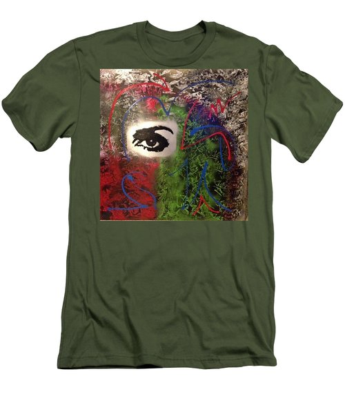 Mixed Media Abstract Post Modern Art By Alfredo Garcia Eye See You 2 Men's T-Shirt (Athletic Fit)