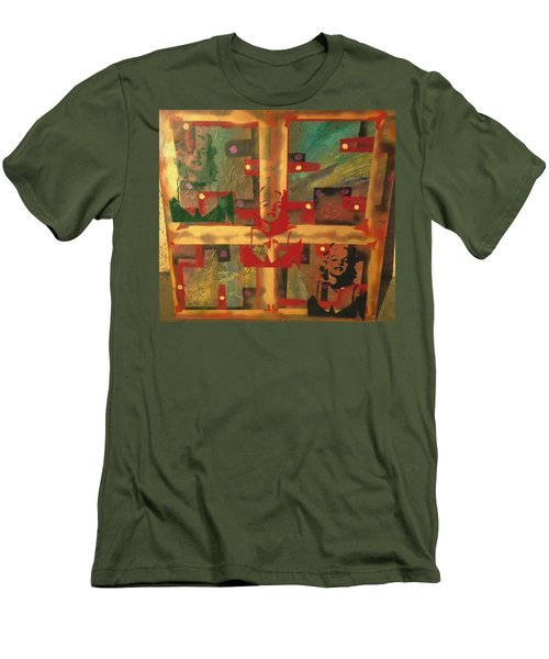 Mixed Media Abstract Post Modern Art By Alfredo Garcia The Blond Bombshell 3 Men's T-Shirt (Athletic Fit)
