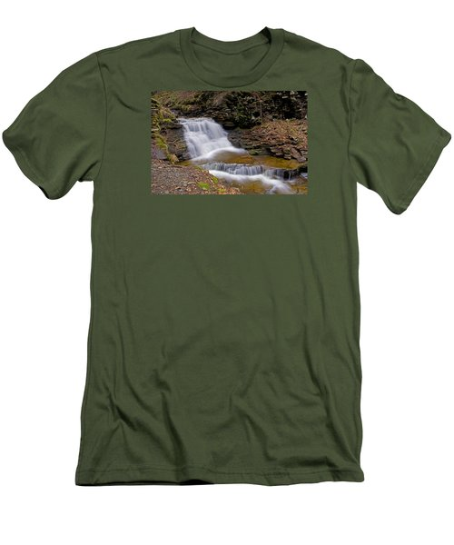 Mohican Falls In Spring Men's T-Shirt (Slim Fit) by Shelly Gunderson