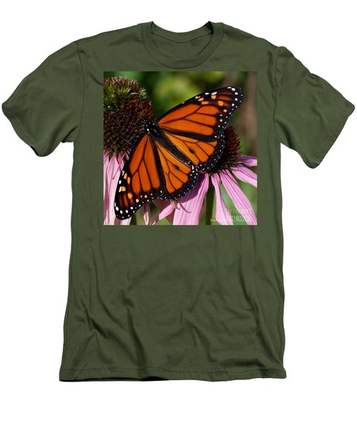 Men's T-Shirt (Slim Fit) featuring the photograph Monarch On Purple Coneflower by Barbara McMahon