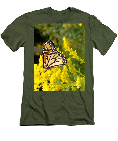 Men's T-Shirt (Slim Fit) featuring the photograph Monarch by Sara  Raber