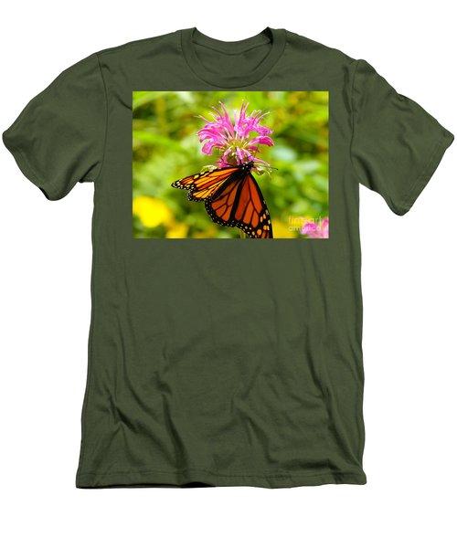 Monarch Under Flower Men's T-Shirt (Athletic Fit)