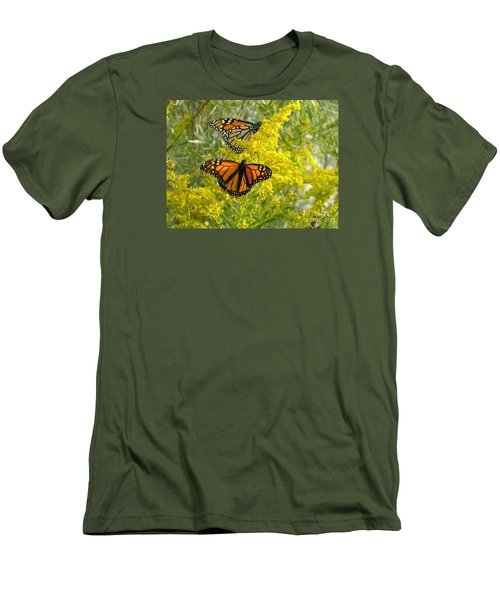 Men's T-Shirt (Slim Fit) featuring the photograph Monarchs On Goldenrod by Susan  Dimitrakopoulos