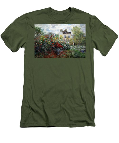 Men's T-Shirt (Slim Fit) featuring the photograph Monet's The Artist's Garden In Argenteuil  -- A Corner Of The Garden With Dahlias by Cora Wandel