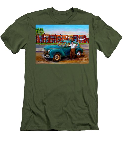 Montreal Taxi Driver 1940 Cab Vintage Car Montreal Memories Row Houses City Scenes Carole Spandau Men's T-Shirt (Athletic Fit)
