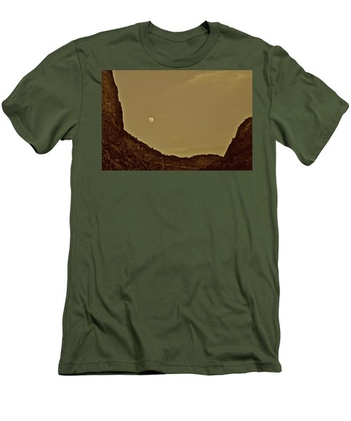 Moon Over Crag Utah Men's T-Shirt (Athletic Fit)