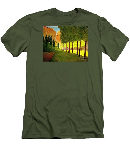 Men's T-Shirt (Slim Fit) featuring the painting Chambord Morning By Bill O'connor by Bill OConnor