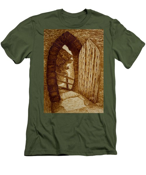 Men's T-Shirt (Athletic Fit) featuring the painting Morning Walk On The Beach Original Coffee Painting by Georgeta Blanaru