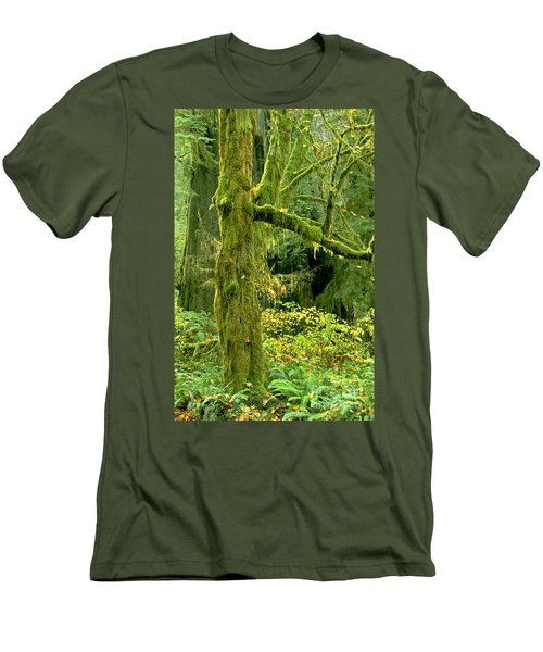 Men's T-Shirt (Slim Fit) featuring the photograph Moss Draped Big Leaf Maple California by Dave Welling