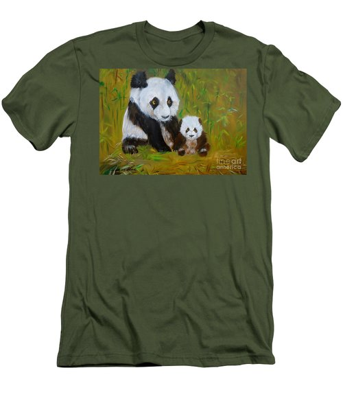 Men's T-Shirt (Slim Fit) featuring the painting Mother And Baby Panda by Jenny Lee