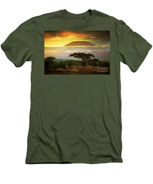 Mount Kilimanjaro Savanna In Amboseli Kenya Men's T-Shirt (Athletic Fit)