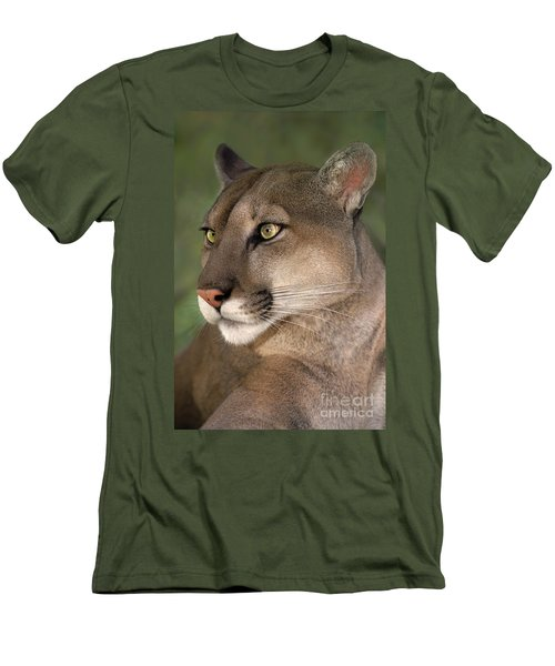 Men's T-Shirt (Slim Fit) featuring the photograph Mountain Lion Portrait Wildlife Rescue by Dave Welling