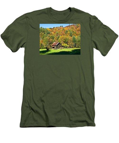 Men's T-Shirt (Slim Fit) featuring the photograph Mountain Log Home In Autumn by Susan Leggett