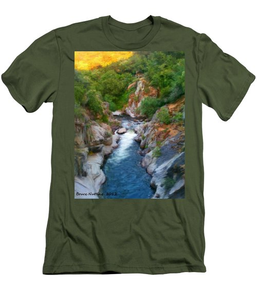 Men's T-Shirt (Slim Fit) featuring the painting Mountain Stream by Bruce Nutting