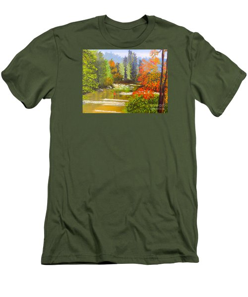 Men's T-Shirt (Slim Fit) featuring the painting Mountain Stream by Pamela  Meredith