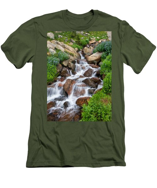 Men's T-Shirt (Slim Fit) featuring the photograph Mountain Stream by Ronda Kimbrow