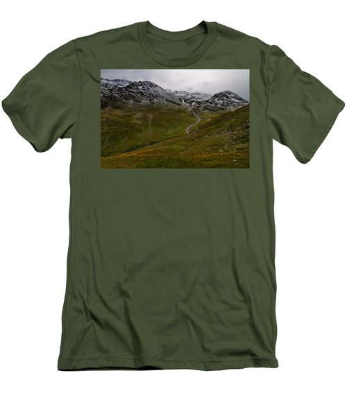 Mountainscape With Snow Men's T-Shirt (Athletic Fit)