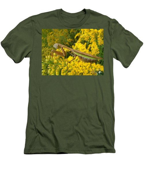 Men's T-Shirt (Slim Fit) featuring the photograph Mr. Mantis by Sara  Raber