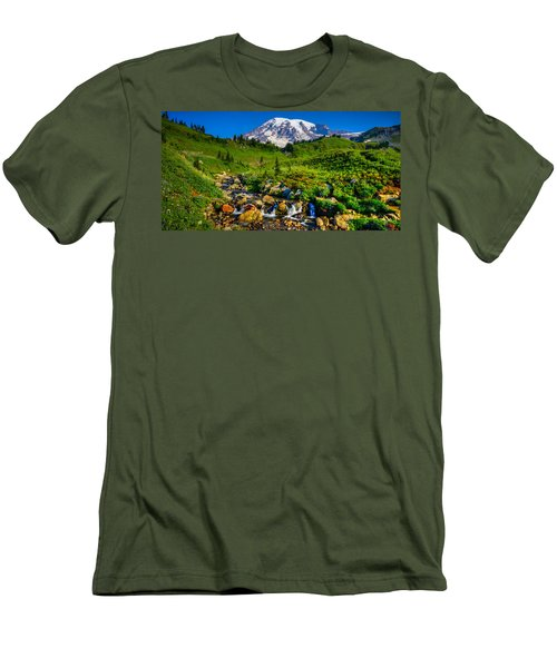 Mt. Rainier Stream Men's T-Shirt (Slim Fit) by Chris McKenna