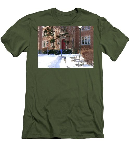 Men's T-Shirt (Slim Fit) featuring the photograph Abstract - Red Door Of Ettinger by Jacqueline M Lewis