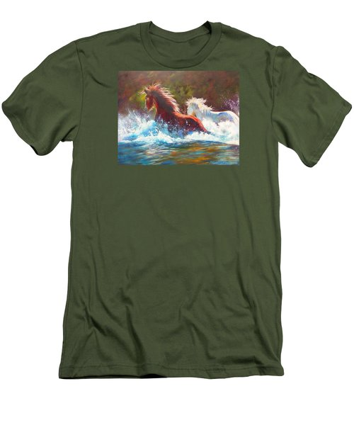 Mustang Splash Men's T-Shirt (Slim Fit) by Karen Kennedy Chatham