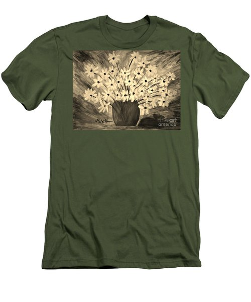 Men's T-Shirt (Slim Fit) featuring the painting My Daisies Sepia Version by Ramona Matei