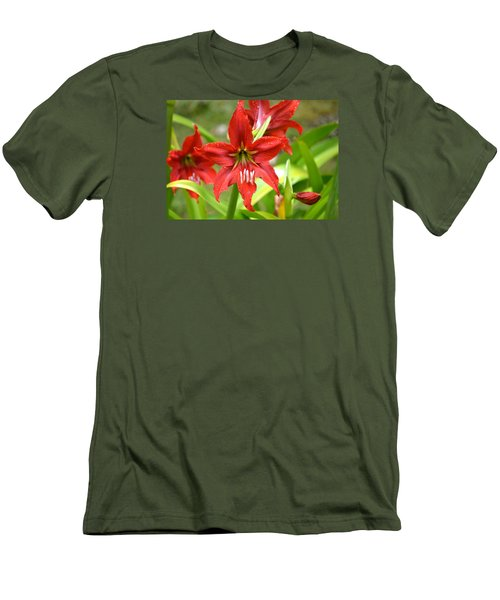 Men's T-Shirt (Slim Fit) featuring the photograph My Red Daylily...after The Rain by Lehua Pekelo-Stearns