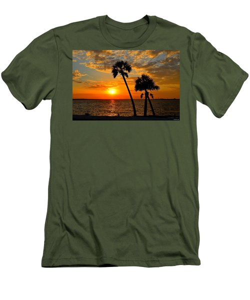 Navarre Beach Bridge Sunrise Palms Men's T-Shirt (Slim Fit) by Jeff at JSJ Photography