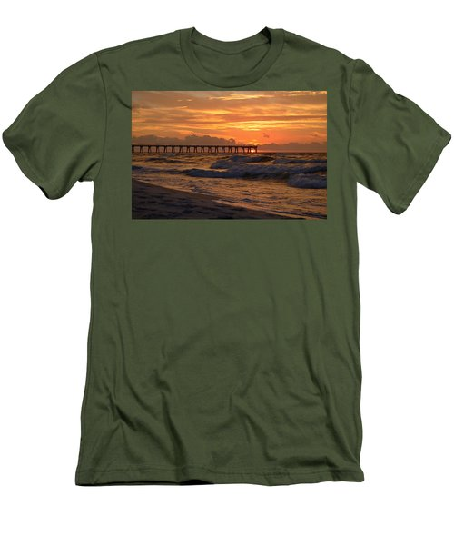 Navarre Pier At Sunrise With Waves Men's T-Shirt (Slim Fit) by Jeff at JSJ Photography