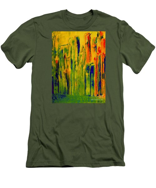 Men's T-Shirt (Slim Fit) featuring the painting New York On A Hot June Morning by Bill OConnor