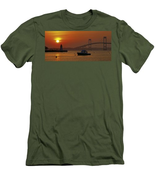 Newport Sunset Men's T-Shirt (Slim Fit) by Lou Ford
