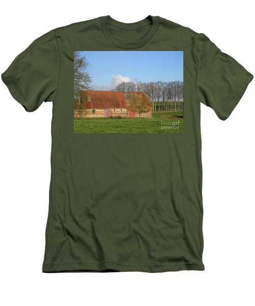 Men's T-Shirt (Slim Fit) featuring the photograph Normandy Storm Damaged Barn by HEVi FineArt