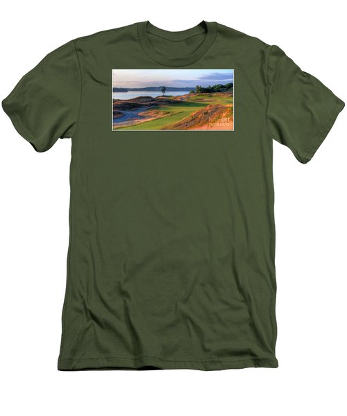 Men's T-Shirt (Slim Fit) featuring the photograph North By Northwest - Chambers Bay Golf Course by Chris Anderson
