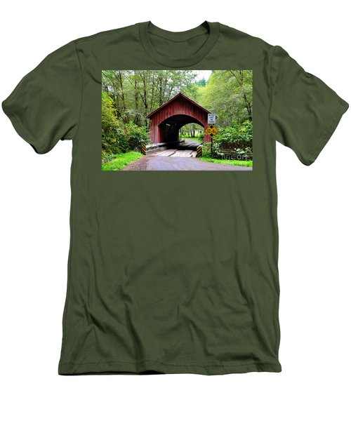 North Fork Yachats Covered Bridge Men's T-Shirt (Athletic Fit)