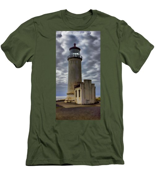 North Head Lighthouse Men's T-Shirt (Slim Fit) by Cathy Anderson