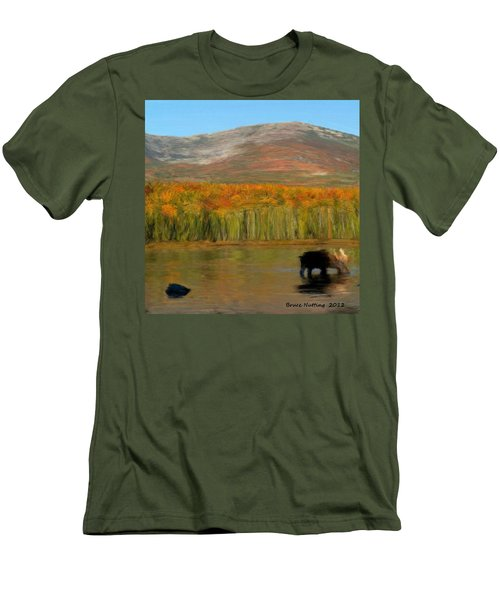 Men's T-Shirt (Slim Fit) featuring the painting Northwest Moose by Bruce Nutting