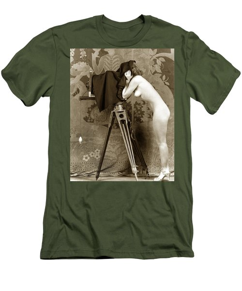 Nude In High Heel Shoes With Studio Camera Circa 1920 Men's T-Shirt (Slim Fit) by California Views Mr Pat Hathaway Archives