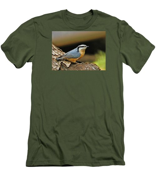 Men's T-Shirt (Slim Fit) featuring the photograph Nuthatch Pose by VLee Watson