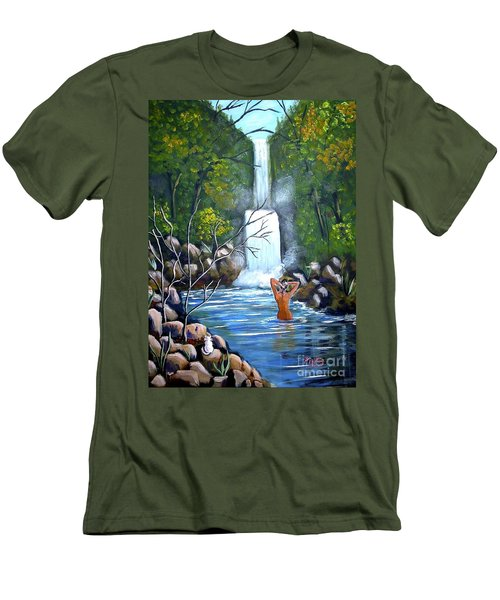 Nymph In Pool Men's T-Shirt (Athletic Fit)