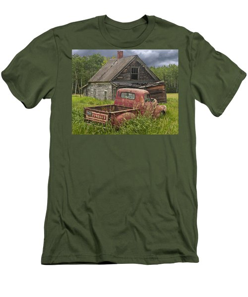 Old Abandoned Homestead And Truck Men's T-Shirt (Slim Fit) by Randall Nyhof
